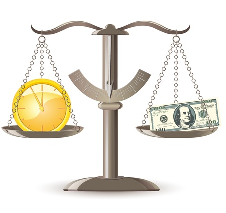 earns: scales choice time money vector illustration