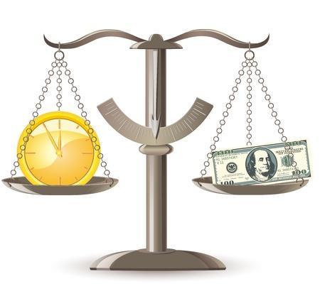 Skalen Wahl: Zeit ist Geld Vektor-Illustration
