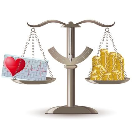 las escalas de salud elecci�n o ilustraci�n vectorial dinero