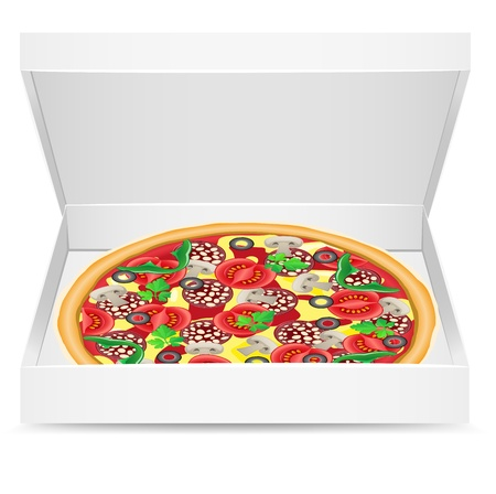 pizza is in a cardboard box vector illustration illustration