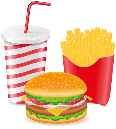 cheeseburger fries potato and paper cup with soda vector illustration