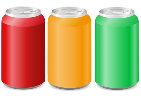 coloured aluminum cans with soda vector illustration illustration