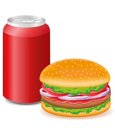 hamburger and aluminum cans with soda vector illustration Stock Illustration - 12235927