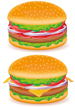 hamburger and cheeseburger vector illustration isolated on white background Stock Illustration - 12235931