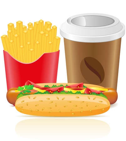 hotdog fries potato and paper cup with coffee vector illustration Stock Illustration - 12235929