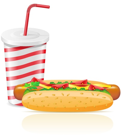 paper cup with soda and hotdog vector illustration illustration