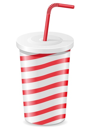 soft drink: paper cup with soda vector illustration isolated on white background