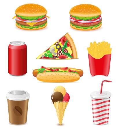 set icons of fast food vector illustration isolated on white background illustration