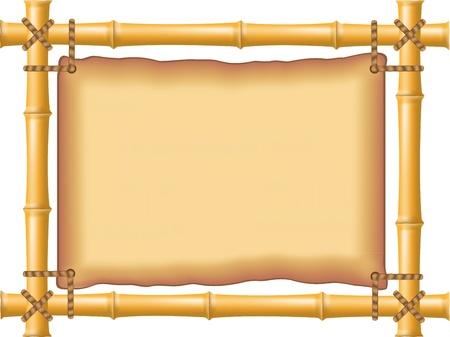 bamboo border: frame made of bamboo and old parchment illustration Stock Photo