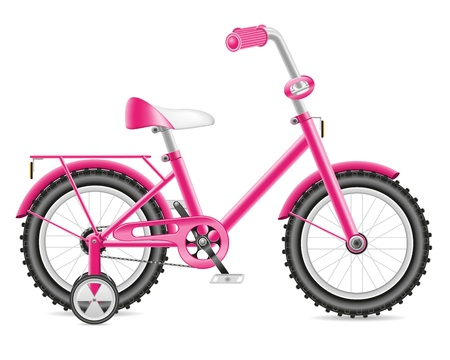 kids bicycle for a girl illustration isolated on white background Stock Photo