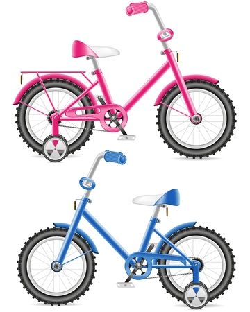 deportes caricatura: ilustraci�n de los ni�os en bicicleta de color rosa y azul sobre fondo blanco Foto de archivo