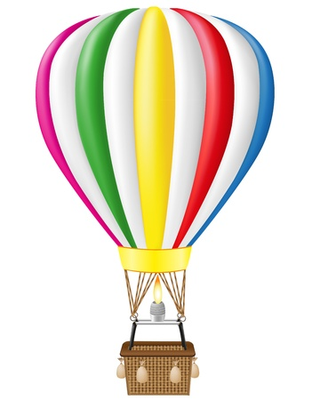 inflate: hot air balloon vector illustration isolated on white background