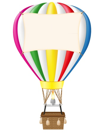 hot air balloon and blank banner illustration isolated on white background Stock Photo