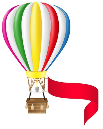 hot air balloon and blank banner vector illustration isolated on white background illustration