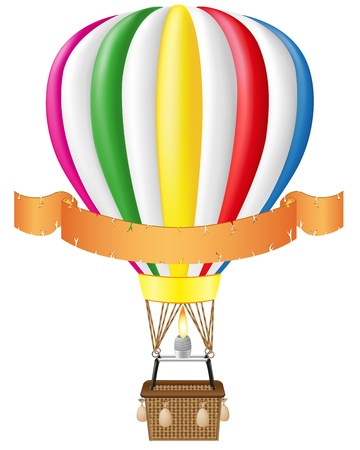 red flag up: hot air balloon and blank banner illustration isolated on white background Stock Photo