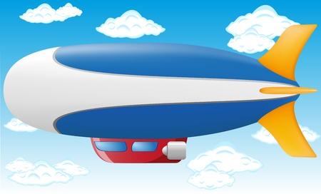 blimps: zeppelin illustration on blue sky Stock Photo