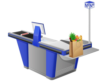 cash register: cash register terminal and shopping bag with foods vector illustration