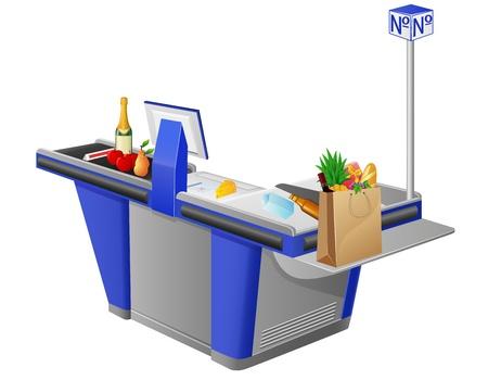 cash register terminal and foodstuffs vector illustration illustration