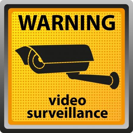 se�al de advertencia de vigilancia con c�maras en la ilustraci�n