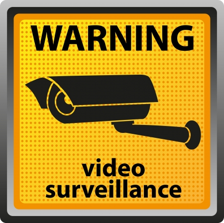 electrical safety: sign warning of surveillance camera  illustration