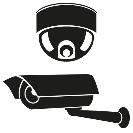 camera surveillance: black and white icons of surveillance cameras vector illustration