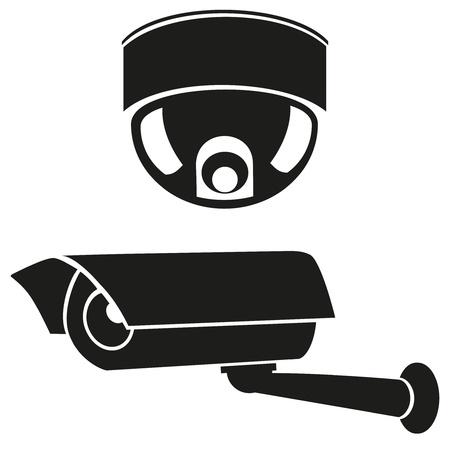 iconos en blanco y negro de ilustraci�n vectorial c�maras de vigilancia Foto de archivo