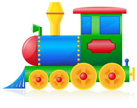 transportation cartoon: children locomotive illustration isolated on white background Stock Photo