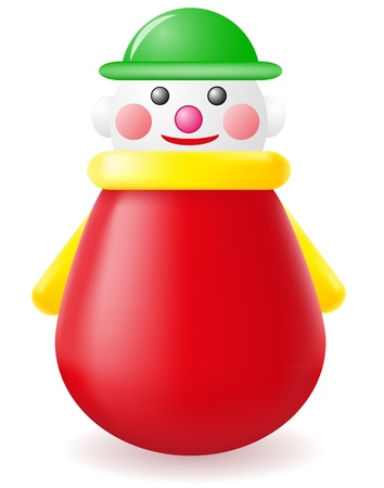 roly-poly doll toy illustration isolated on white background Stock Photo