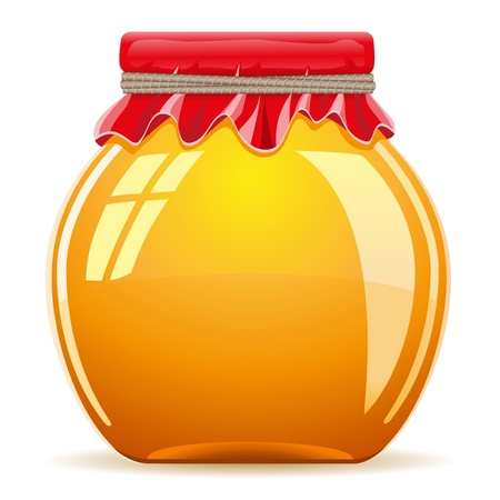 honey in the pot with a red cover vector illustration isolated on white background Stock Photo