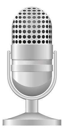 microfono de radio: ilustración viejo micrófono aisladas sobre fondo blanco