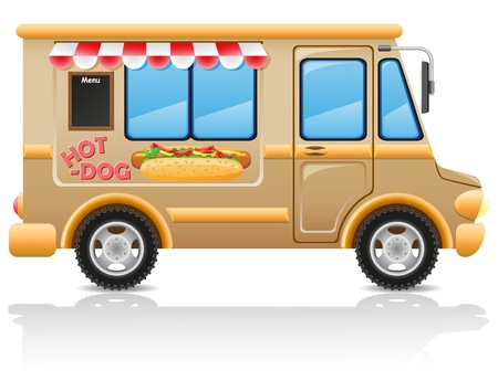 car hot dog fast food vector illustration isolated on white background Stock Photo