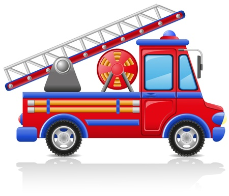 fire brigade: fire truck illustration isolated on white background