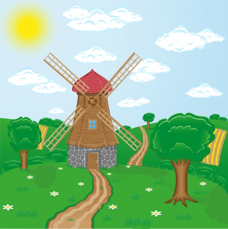 windmills against rural landscape illustration illustration