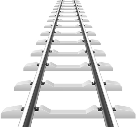 fasteners: rails with concrete sleepers vector illustration isolated on white background
