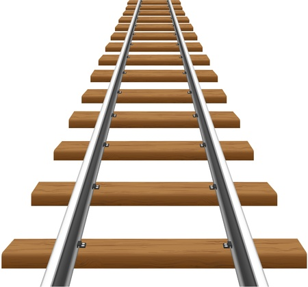 railroad crossing: rails with wooden sleepers vector illustration isolated on white background