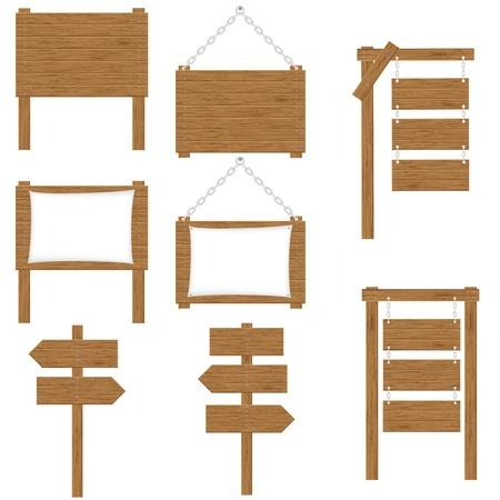 arrow wood: tableros de madera signos ilustraci�n vectorial aislados en fondo blanco