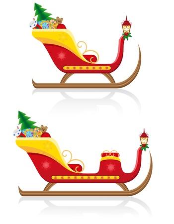 navidad trineo de Pap� Noel con regalos ilustraci�n vectorial aislados en fondo blanco