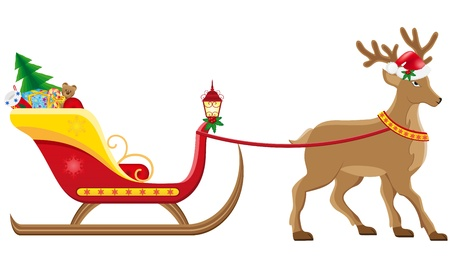 christmas sleigh of santa claus with gifts vector illustration isolated on white background illustration