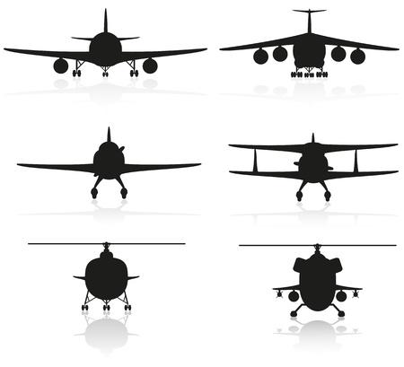 establecer los iconos silueta avi�n y helic�ptero Foto de archivo