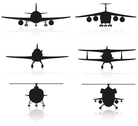 set icons airplane silhouette and helicopter Stock Photo