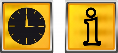 icons information and clock for design vector illustration isolated on white background Stock Illustration - 15561363