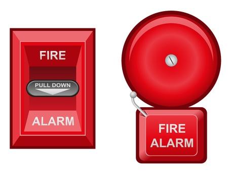 alarma de incendio ilustraci�n vectorial aislados en fondo blanco Foto de archivo