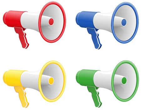 ilustraci�n vectorial de color meg�fonos aislado sobre fondo blanco