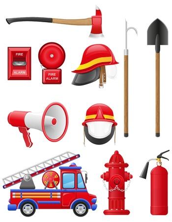 iconos conjunto de ilustraci�n vectorial equipo de extinci�n de incendios aislados en fondo blanco Foto de archivo