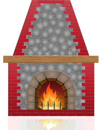 fireplace vector illustration isolated on white background Stock Illustration - 15801016
