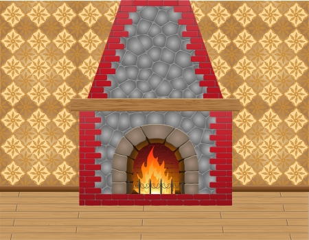 fireplace in the room vector illustration illustration