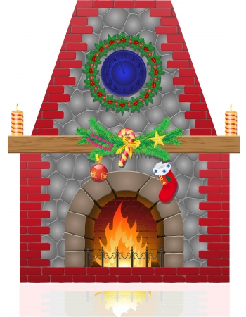 christmas fireplace: fireplace with christmas decorations vector illustration isolated on white background Stock Photo