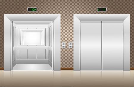 dos puertas del ascensor abiertas y cerradas