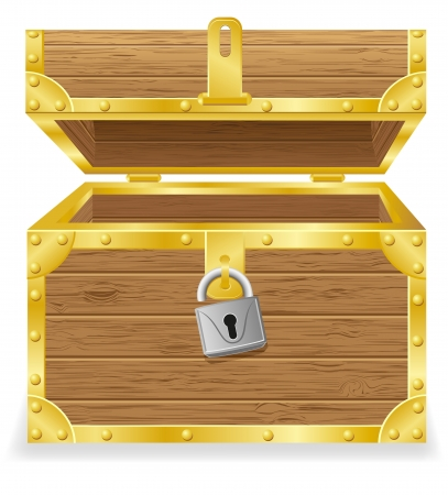 open antique chest vector illustration isolated on white background illustration