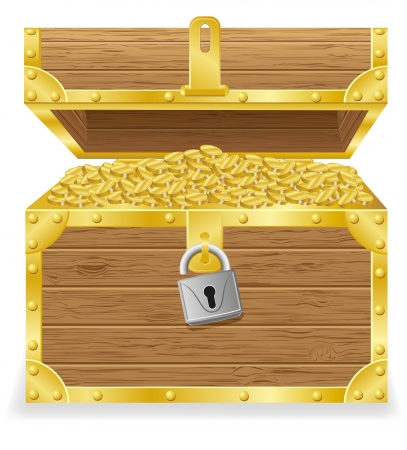 antique treasure chest vector illustration isolated on white background illustration